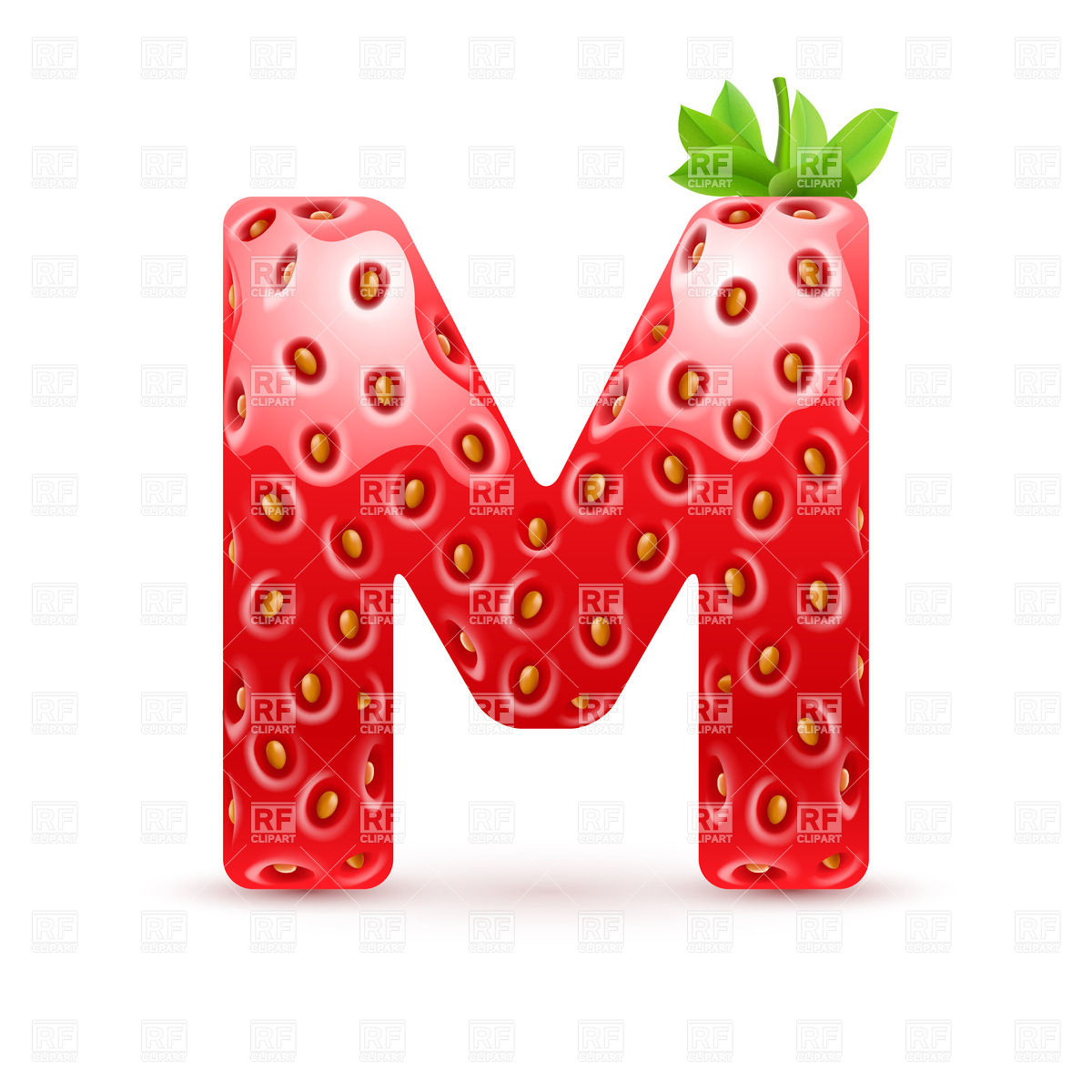 1200x1200 Strawberry Style Font, Letter M Vector Image Vector Artwork Of