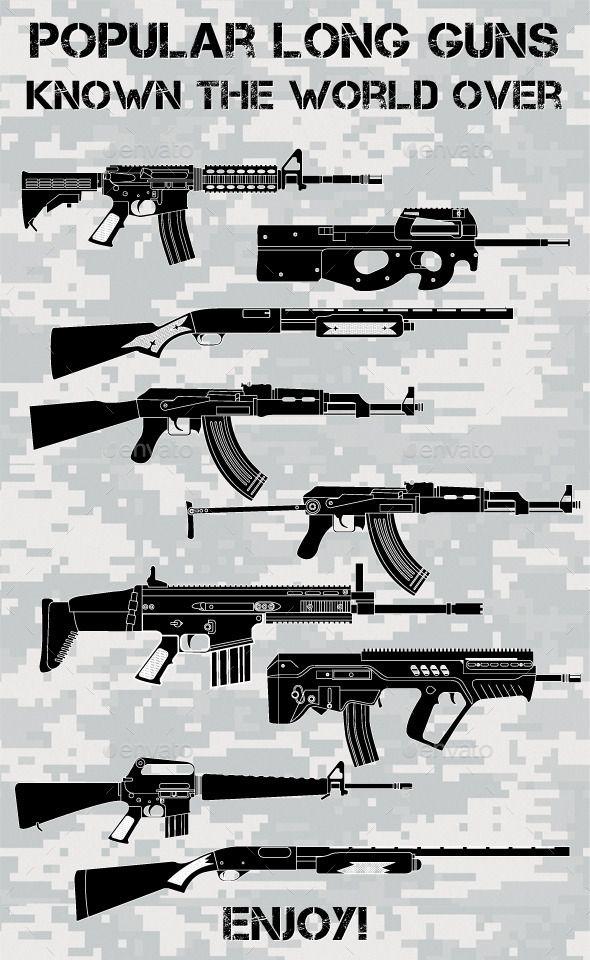 590x960 Popular Long Guns Vector Pack! Included M4, M16, Ak47, Ak47