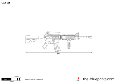 400x283 Colt M4 Vector Drawing
