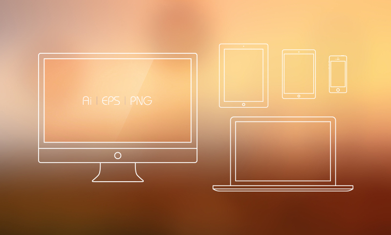 800x480 Free Apple Devices Outline Vector Mockups