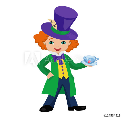500x485 Mad Hatter Holding A Cup Of Tea. Vector Illustration.