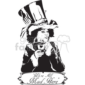 300x300 Royalty Free Alice In Wonderland Mad Hatter 398014 Vector Clip Art