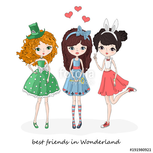 500x500 Three Friends In Wonderland. Girl In Costume Of Alice Wonderland