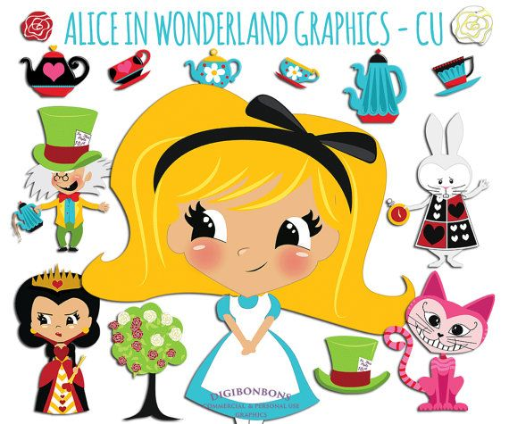 570x475 Alice In Wonderland Graphics, Instant Download, Vector Clipart, Cu