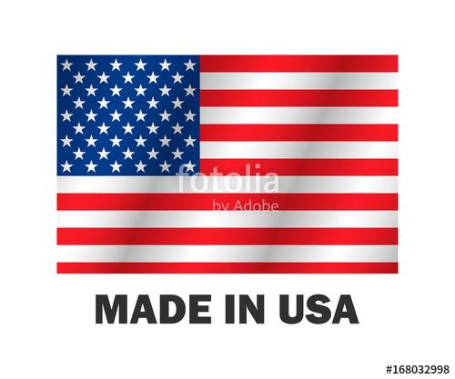 500x417 American Flag, Made Usa Vector Illustration Stylish Design Stock