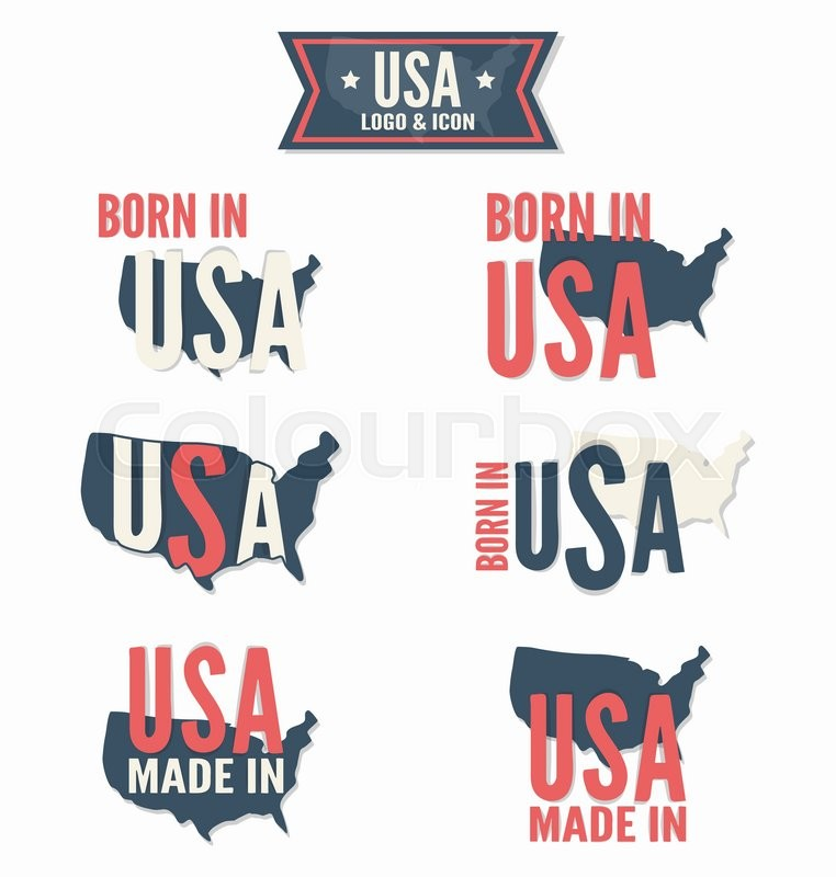 762x800 Set Of Made In The Usa And Born In The Usa Vector Logo Stock