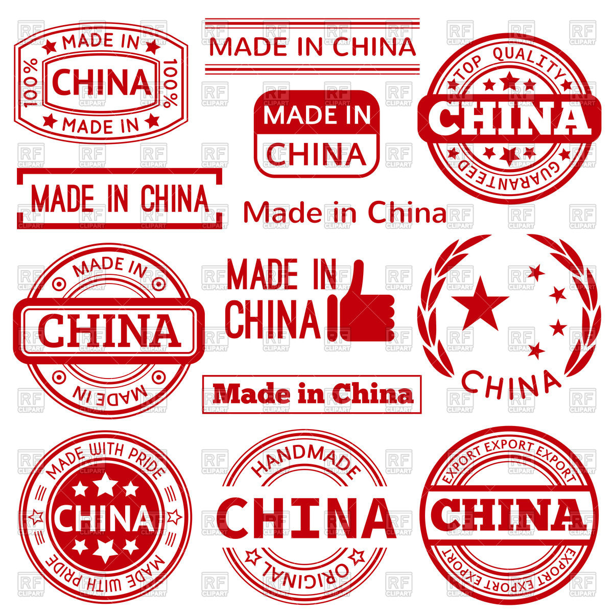 1200x1200 Made In China Red Graphics And Labels Vector Image Vector