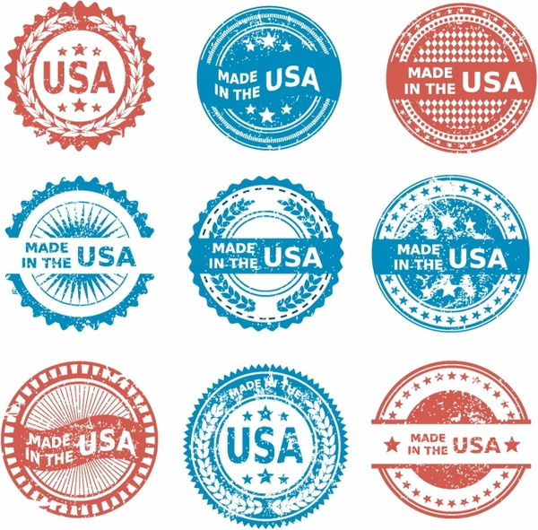 600x591 Made In The Usa Patriotic Grunge Icon Set Free Vector In Adobe