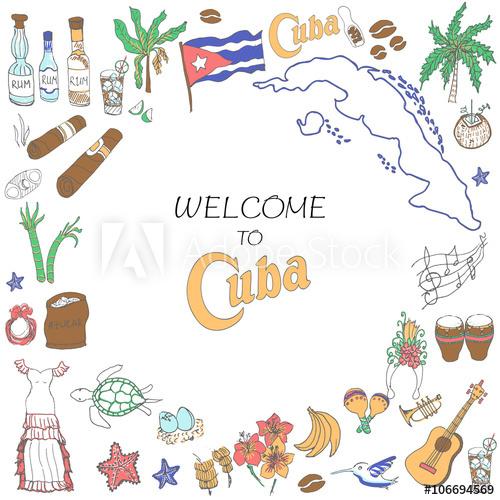 500x500 Set Of Hand Drawn Cuba Icons, Cuban Sketch Illustration, Doodle