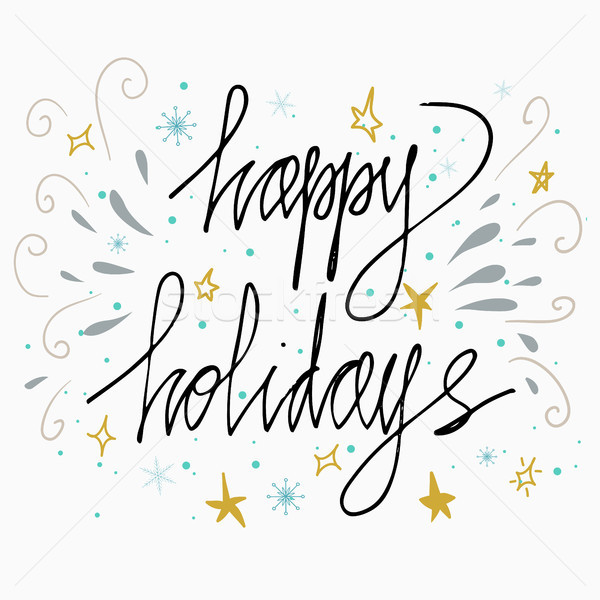 600x600 Happy Holidays Greetings Hand Lettering Card Isolated On White