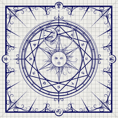 400x400 Sketch Of Alchemy Magic Circle On Notebook