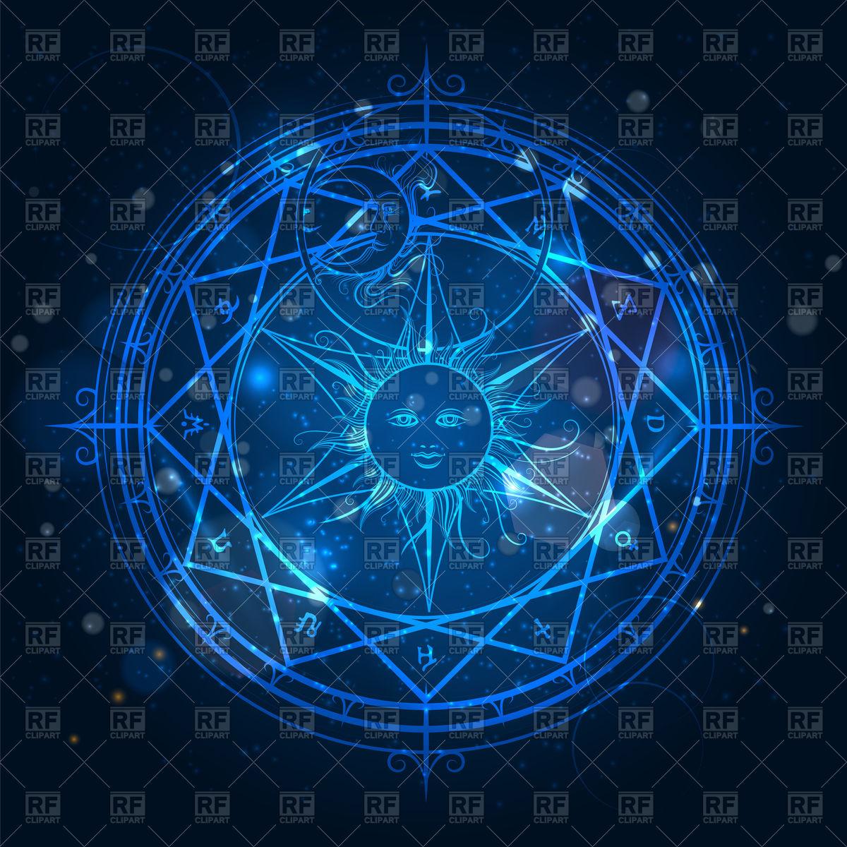 1200x1200 Alchemy Magic Circle On Shining Blue Background Vector Image