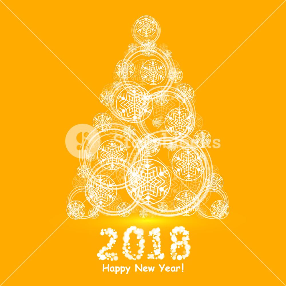 1000x1000 Christmas Tree Made Of Snowflakes And Magic Circle. Vector Eps 10