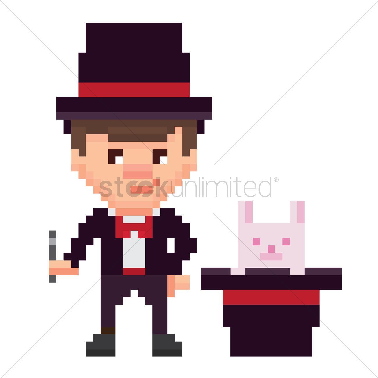 1300x1300 Pixel Art Magician Vector Image