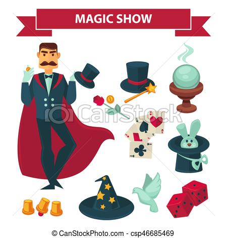 450x470 Circus Magician Man With Magic Show Vector Accessories. Magic Show