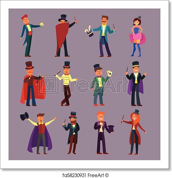 561x581 Free Art Print Of Magician Vector Illusionist Show Magic Man