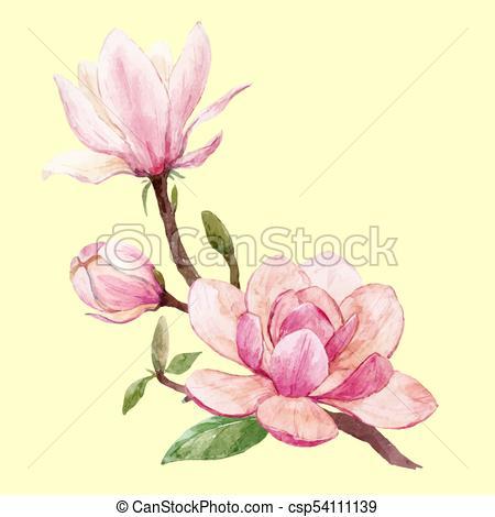 450x470 Watercolor Magnolia Floral Vector Composition. Beautiful Vector