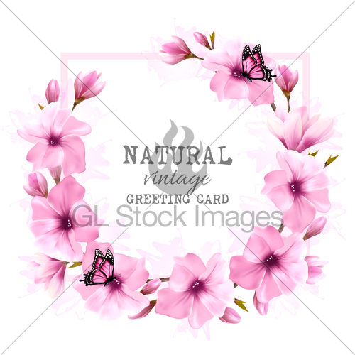 500x500 Natural Vintage Greeting Card With Pink Magnolia. Vector. Gl