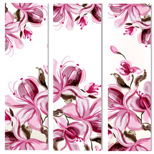 500x500 Watercolor Magnolia Flowers Painted Banners Vector Free Download