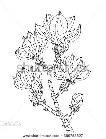 359x470 Magnolia Blossom, Tree Branch Flowers With Dot And Line Pattern