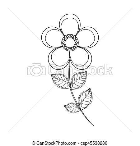 450x470 Magnolia Flower Decoration Line Vector Illustration Eps 10.