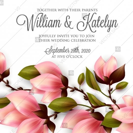 540x540 Magnolia Wedding Invitation Vector Template Card