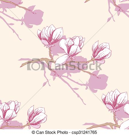 450x470 Seamless Pattern With Magnolia. Vector Illustration Clip Art