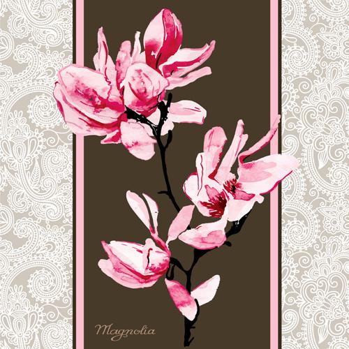 500x500 Set Of Magnolia Invitations Cover Vector Graphic Free Vector In