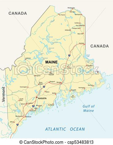 367x470 Road Map Vector Free Maine Road Map Maine Road Vector Map Vector