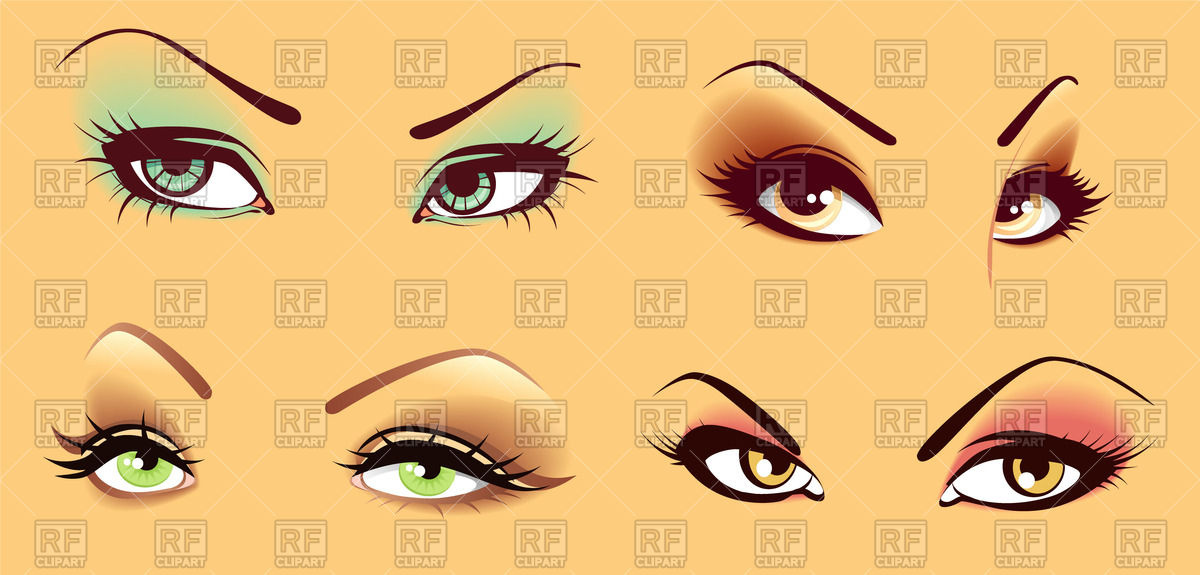 1200x575 Sexy Woman Eyes With Fancy Makeup Vector Image Vector Artwork Of