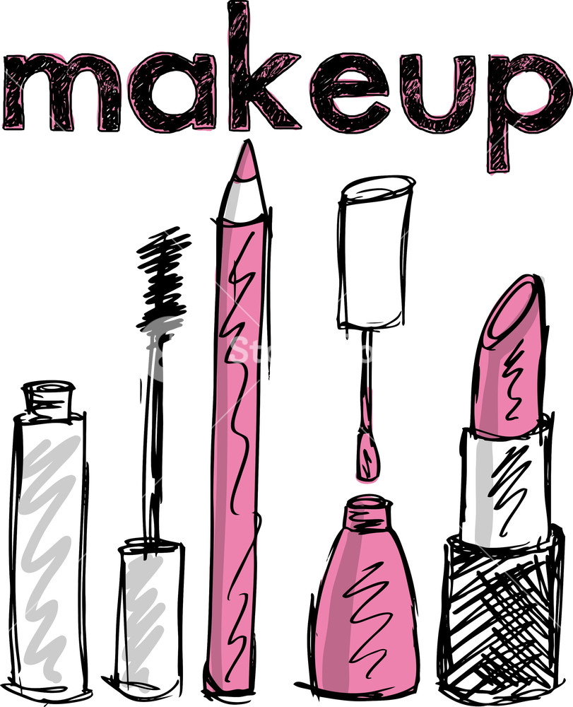 811x1000 Sketch Of Makeup Products. Vector Illustration Royalty Free Stock