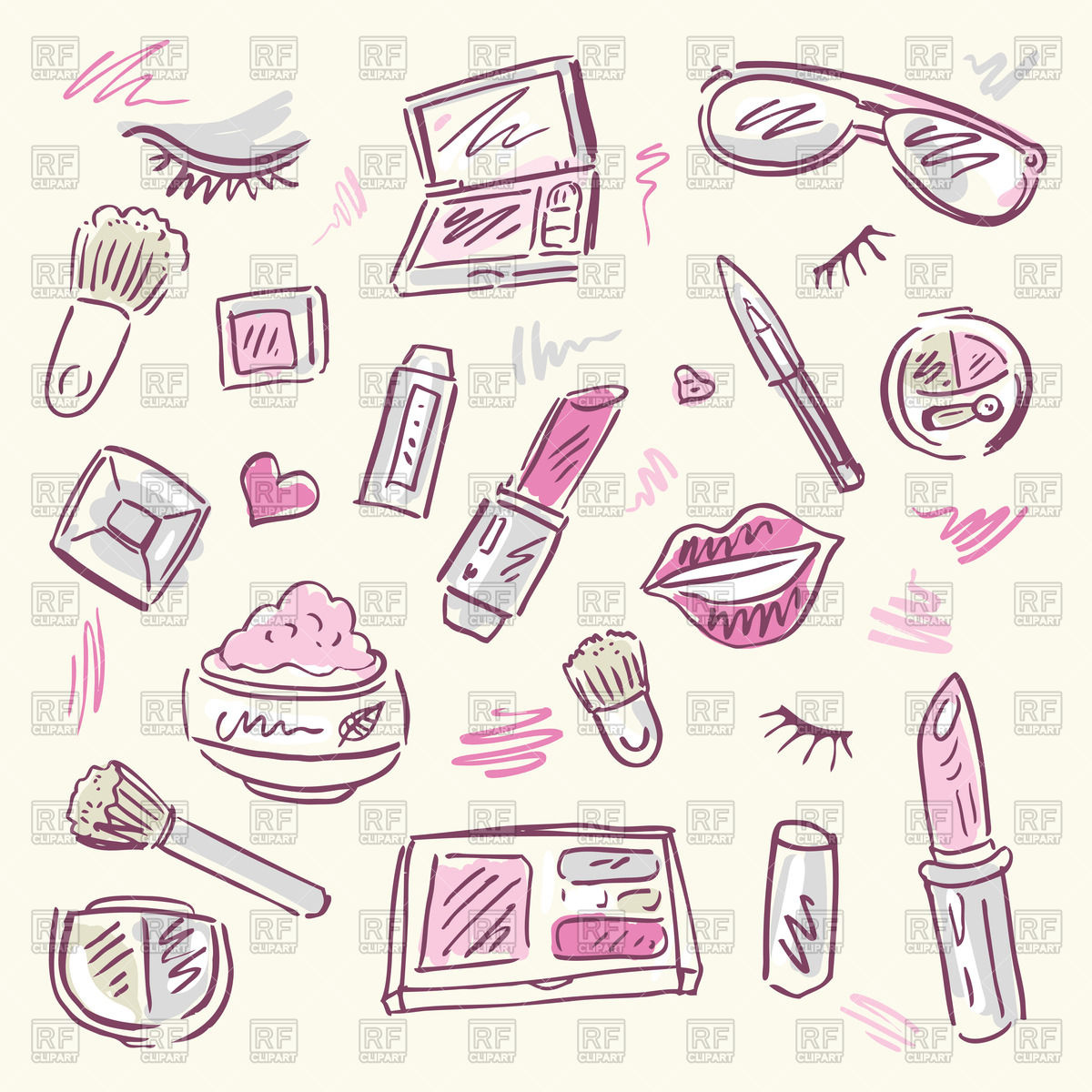 1200x1200 Sketchy Set Of Cosmetic For Makeup Vector Image Vector Artwork