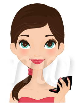 256x336 Teen Girl With Makeup Illustration, Teen Girl With Makeup Vector