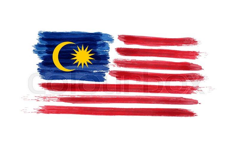800x560 Watercolor Imitation Brushed Flag Of Malaysia. Jalur Gemilang