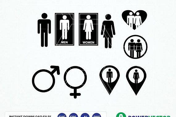 570x380 Gender Signs Svg. Male Female Symbol Svg. Gender Symbols Dvg, Dxf