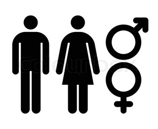320x262 Man And Woman Interlaced Gender Colored Signs Wallpaper Stock