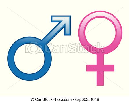 450x354 Glossy Male Female Symbols. Glossy Male And Female Symbols In Blue