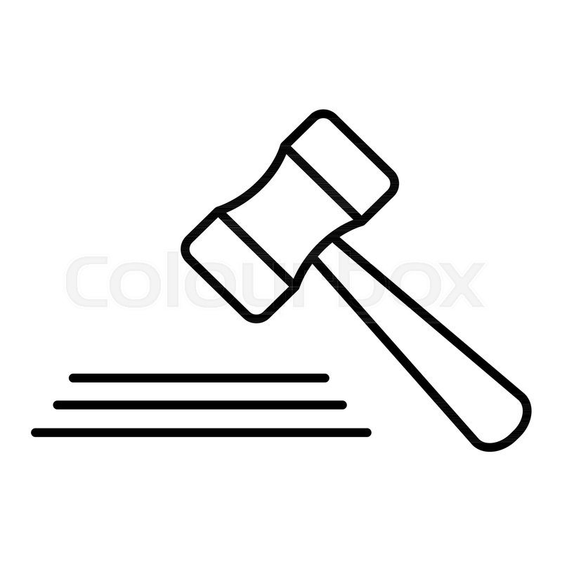 800x800 Auction Mallet Line Icon, Outline Vector Sign, Linear Style