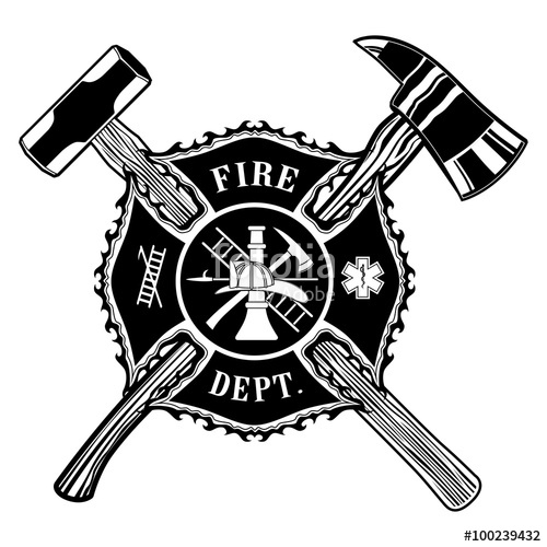500x500 Firefighter Cross Ax And Sledge Hammer Is An Illustration Of A