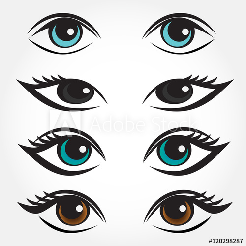 500x500 Eye Vector Set. Man, Asian, Caucasian And Brunette Woman Eyes