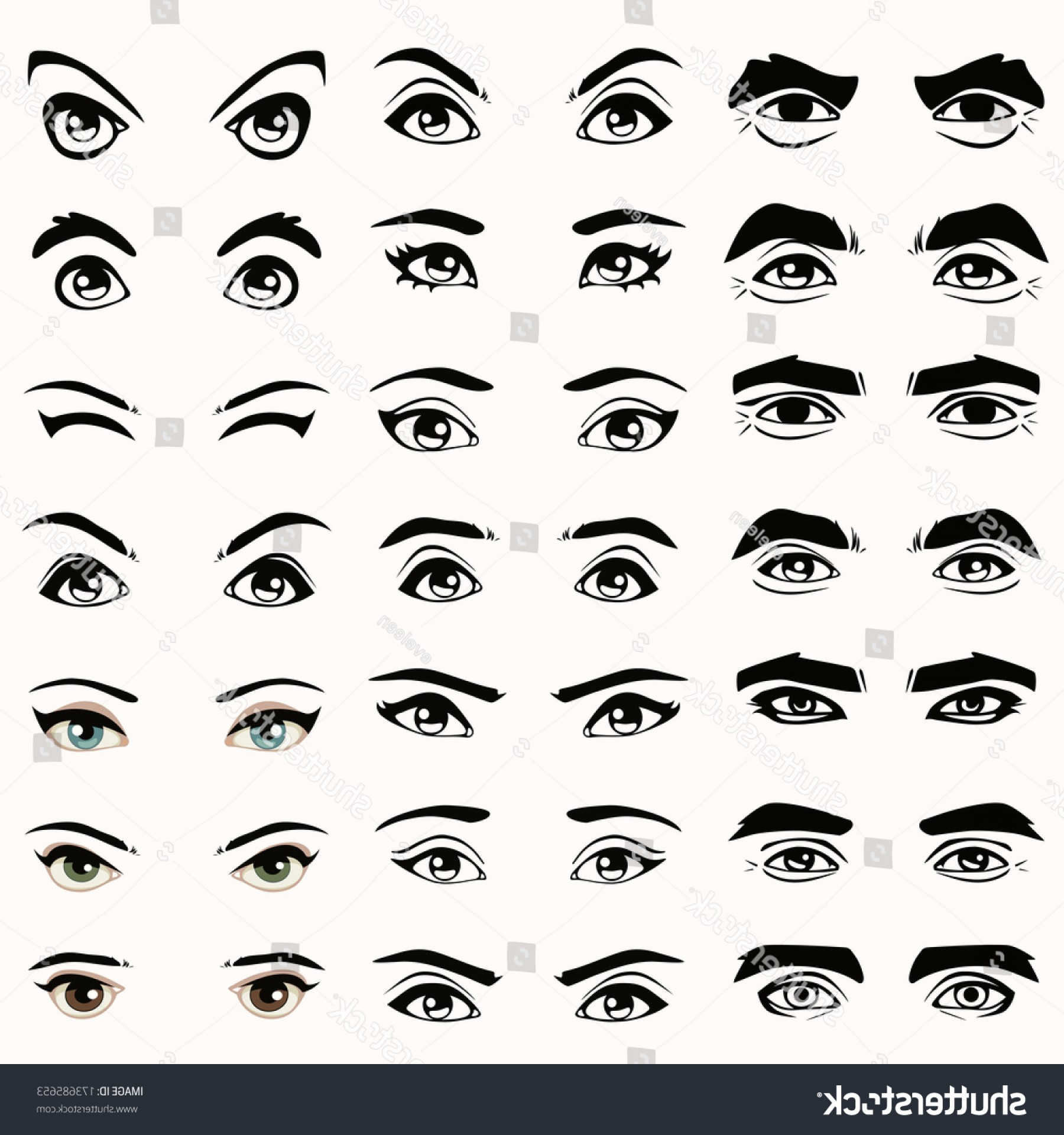 1800x1920 Man Woman Isolated Vector Eyes Eyebrows Shopatcloth