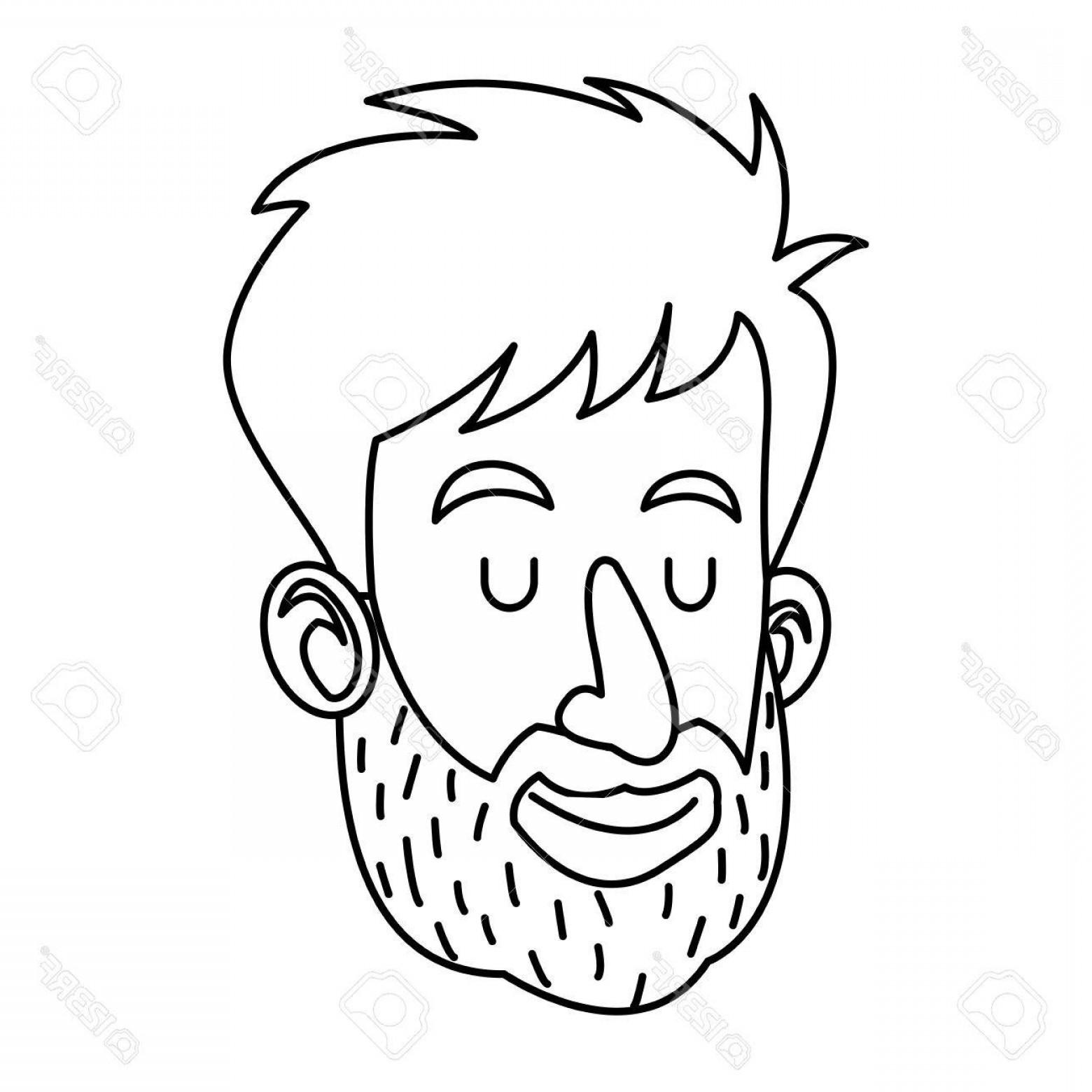 1560x1560 Photostock Vector Avatar Face Man Beard Close Eyes Outline Vector