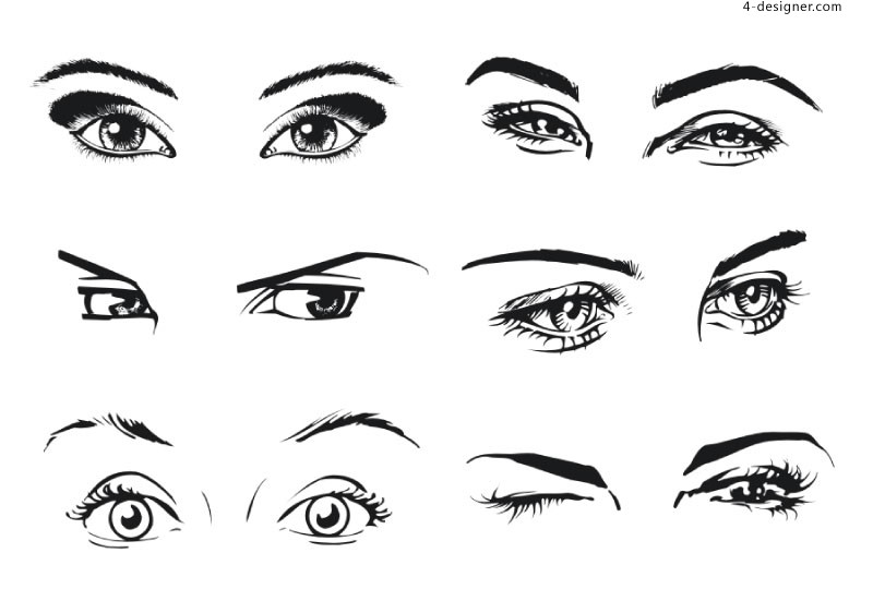 800x562 4 Designer 6 Kinds Of Female Eyes Vector Materials
