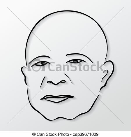 450x470 Vector Drawing Faces Old Men With Eyes Closed. Vector Drawing