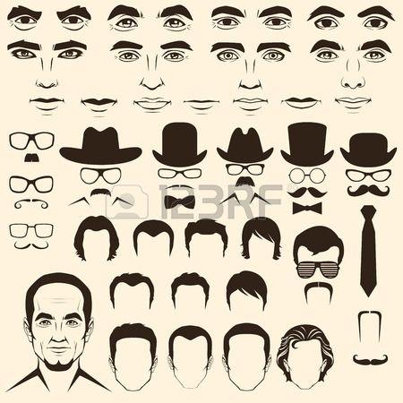 450x450 Vector Men Eye, Mustache, Glasses, Hat, Lips And Hair, Face