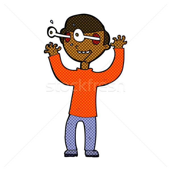 600x600 Comic Cartoon Man With Popping Out Eyes Vector Illustration