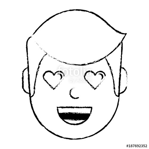 500x500 Man Character In Love Emotion With Hearts As Eyes Vector