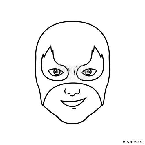 500x500 Monochrome Silhouette With Man Superhero And Middle Mask And Shape