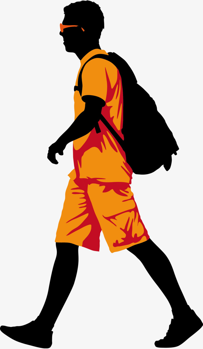 650x1115 A Man Walking With A Satchel On His Back, Man Vector, Man Clipart