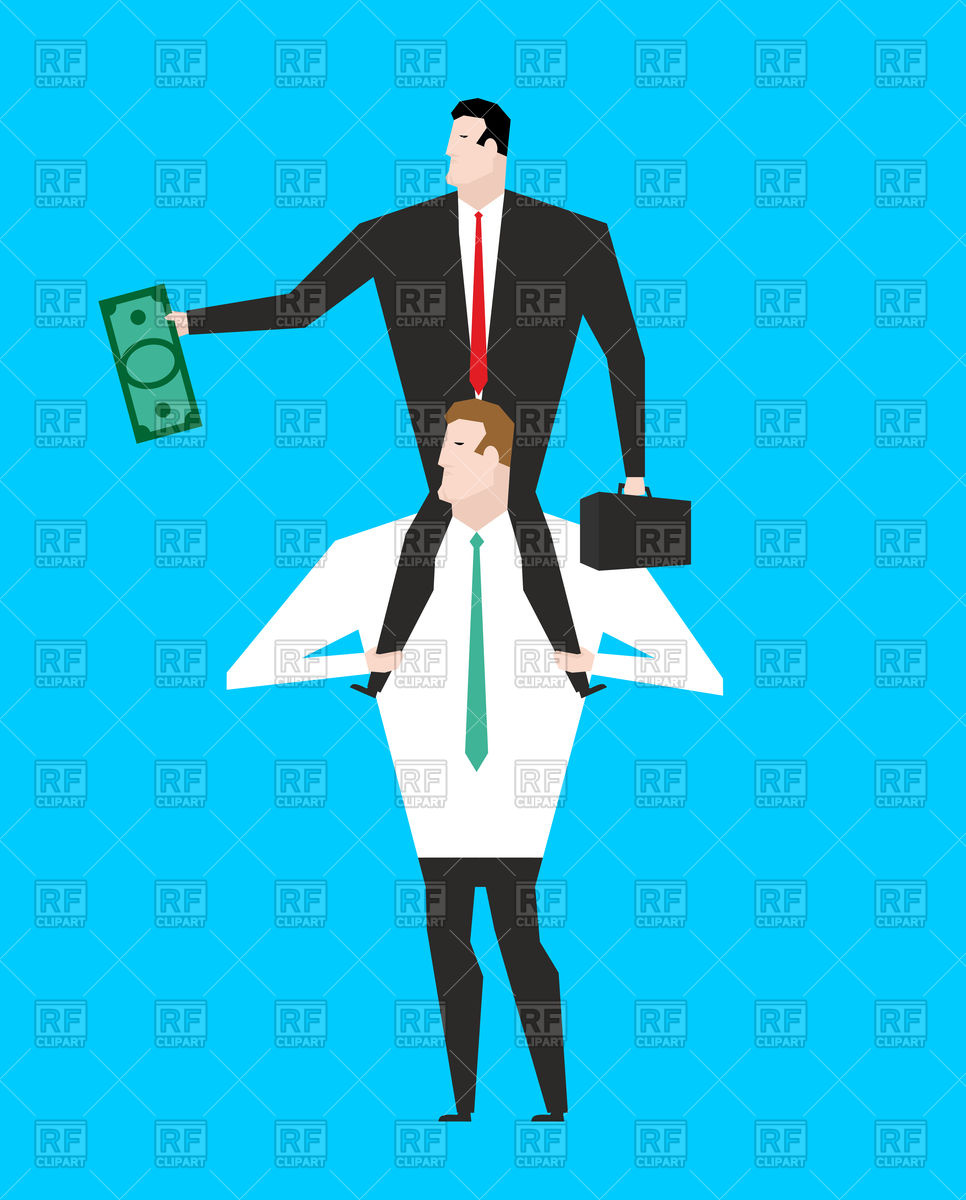 966x1200 Business Motivation. Boss Sitting On Shoulders Of Manager. Vector